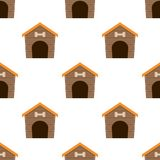 Pet Dog House Flat Icon Seamless Pattern stock illustration