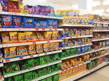 Pet dog packets of food. Shelves of pet food in packets for dogs Stock Image