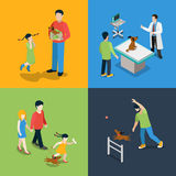 Pet dog walking veterinary family puppy flat 3d isometric vector Royalty Free Stock Photo