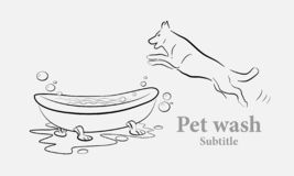Pet or dog wash illustration. Dog wash, pet health care solution lowercase flat logo design template. illustration for depliant brochure or logo royalty free illustration