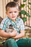 Pet Duck and Little Boy Royalty Free Stock Photos