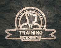Pet emblem design. Doberman dog. Graphic design element. Outline stamp royalty free illustration