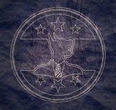 Pet emblem design. Doberman dog. Graphic design element. Outline stamp vector illustration