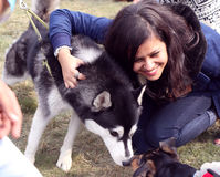 Pet Fed dog fair. Dog lover celebrating & enjoying Pet Fed dog fair with their pet dogs at Delhi pet fed 2016 held in second week of December royalty free stock photo