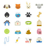 Pet Flat Icons color. This is graphics vector Illustration icons Stock Photos