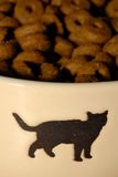 Pet food. In dish with cat silhouette on it Stock Images