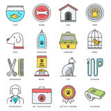Pet Food and Accessories Flat Line Icon Set Royalty Free Stock Photos