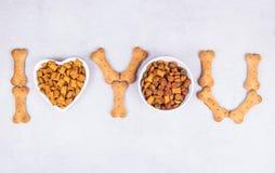 Free Pet Food And Treats. Bone Pet Treat. Love For Pets Royalty Free Stock Photo - 213737735