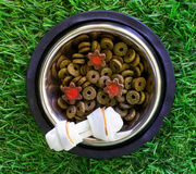 Pet food in a bowl on a green grass Royalty Free Stock Photography