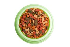 Pet Food Bowl Isolated White on Background Royalty Free Stock Photo