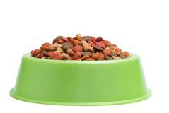 Pet Food Bowl Isolated White on Background stock images
