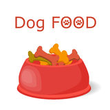 Pet food in bowl. vector illustration
