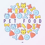 Pet food concept in circle with thin line icons. Of dry food in different shapes and cute dog and cat. Modern vector illustration Royalty Free Stock Photos