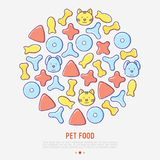 Pet food concept in circle with thin line icons. Of dry food in different shapes and cute dog and cat. Modern vector illustration Stock Photos