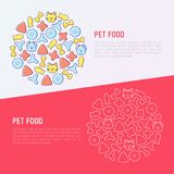 Pet food concept in circle with thin line icons. Of dry food in different shapes and cute dog and cat. Modern vector illustration Stock Photography