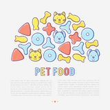 Pet food concept in half circle. With thin line icons of dry food in different shapes and cute dog and cat. Modern vector illustration Stock Images