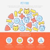 Pet food concept in half circle. With thin line icons of dry food in different shapes and cute dog and cat. Modern vector illustration, template for web page of Stock Images