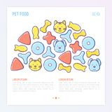 Pet food concept in half circle. With thin line icons of dry food in different shapes and cute dog and cat. Modern vector illustration Stock Photography
