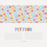 Pet food concept with thin line icons. Of dry food in different shapes and cute dog and cat. Modern vector illustration Royalty Free Stock Images