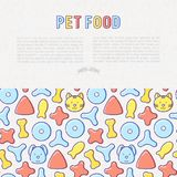 Pet food concept with thin line icons. Of dry food in different shapes and cute dog and cat. Modern vector illustration Royalty Free Stock Image