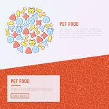 Pet food concept with thin line icons. Of dry food in different shapes and cute dog and cat. Modern vector illustration Stock Photos