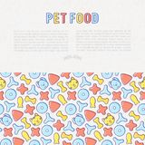 Pet food concept with thin line icons. Of dry food in different shapes and cute dog and cat. Modern vector illustration Stock Image