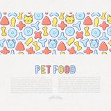 Pet food concept with thin line icons. Of dry food in different shapes and cute dog and cat. Modern vector illustration Stock Images