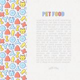 Pet food concept with thin line icons. Of dry food in different shapes and cute dog and cat. Modern vector illustration Royalty Free Stock Photography