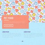 Pet food concept with thin line icons. Of dry food in different shapes and cute dog and cat. Modern vector illustration, template for web page of pet shop Royalty Free Stock Images
