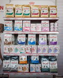 Pet food on display at Quattrozampeinfiera in Milan, Italy Royalty Free Stock Photo