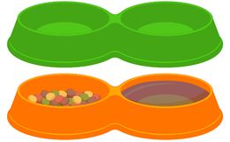Pet food empty and full sections bowl set. Colorful cartoon pet food empty and full sections bowl set. Cat dog care themed vector illustration for gift card Royalty Free Stock Image