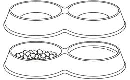 Pet food empty and full sections bowl set. Line art black and white pet food empty and full sections bowl set. Cat dog care themed vector illustration for gift Stock Images