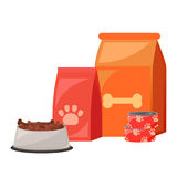 Pet food. Food for cats and dogs. Bowl, Packaging, Advertising. Vector flat illustration Royalty Free Stock Photo