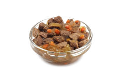 Pet food in a glass container Royalty Free Stock Photography