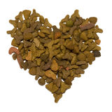 Pet food in the heart shape Royalty Free Stock Photography