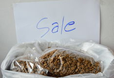 Pet food plastic bag packing for sale in shop Royalty Free Stock Photo