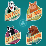 PET FOOD ROUND LABELS. Labels for pet food cans Royalty Free Stock Photo