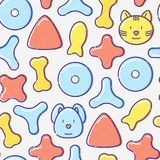 Pet food seamless pattern. With thin line icons of dry food in different shapes and cute dog and cat. Modern vector illustration Royalty Free Stock Photos