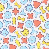 Pet food seamless pattern with thin line icons. Of dry food in different shapes and cute dog and cat. Modern vector illustration for background Stock Photography