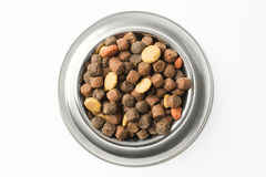 Pet food in silver bowl Royalty Free Stock Photos