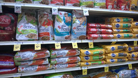 Pet food on store shelves Royalty Free Stock Photos