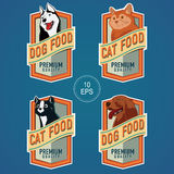 PET FOOD VERTICAL LABELS. Labels for pet food cans Royalty Free Stock Photography
