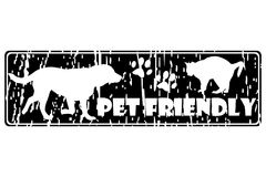 PET FRIENDLY rubber stamp. On white background Royalty Free Stock Images
