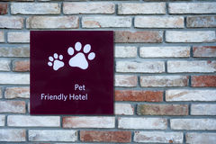 Pet Friendly Sign. In a Hotel Stock Photography
