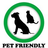 PET FRIENDLY sign. With cat and dog silhouettes Stock Image
