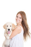 Pet golden retriever puppy dog Stock Photography