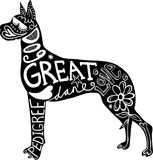 Pet Great Dane Dog. Hand drawn illustration of a great dane dog silhouette with doodle text and shapes added to it Stock Image