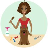 Pet Groomer Grooming a Dog at the Salon. A vector illustration of a Pet Groomer Grooming a Dog at the Salon stock illustration