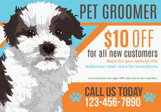 Pet groomer postcard template. Dog grooming postcard advertisement with adorable puppy and coupon vector illustration