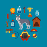 Pet grooming concept with dog care elements. Pet grooming: bowl, collar, leash. Pet grooming poster vector illustration. Colorful Pet grooming concept in flat royalty free illustration